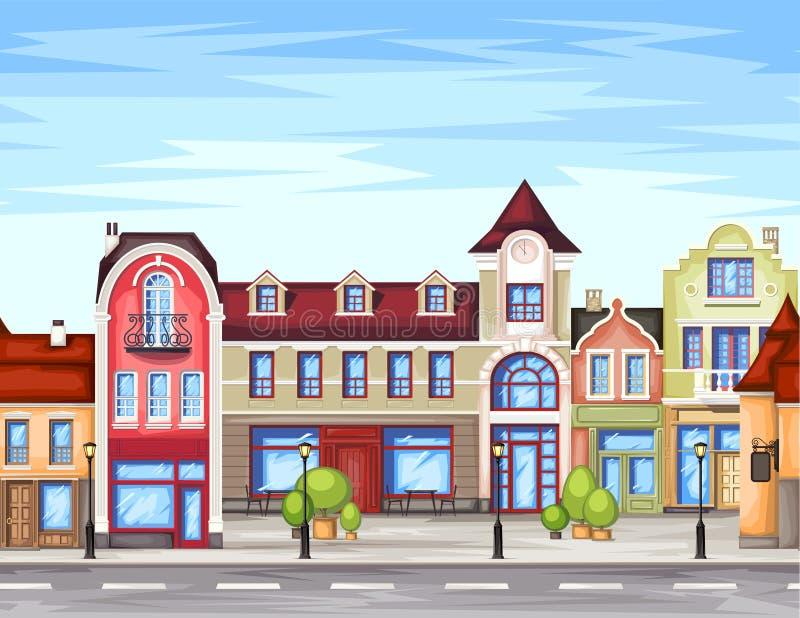 Kleine stadsstraat met winkel royalty-vrije illustratie