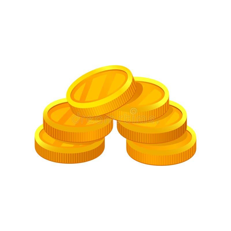Kleine stapel van gouden muntstukken Economie en financiënthema Vlak vectorelement voor mobiele app of reclameaffiche van bank vector illustratie