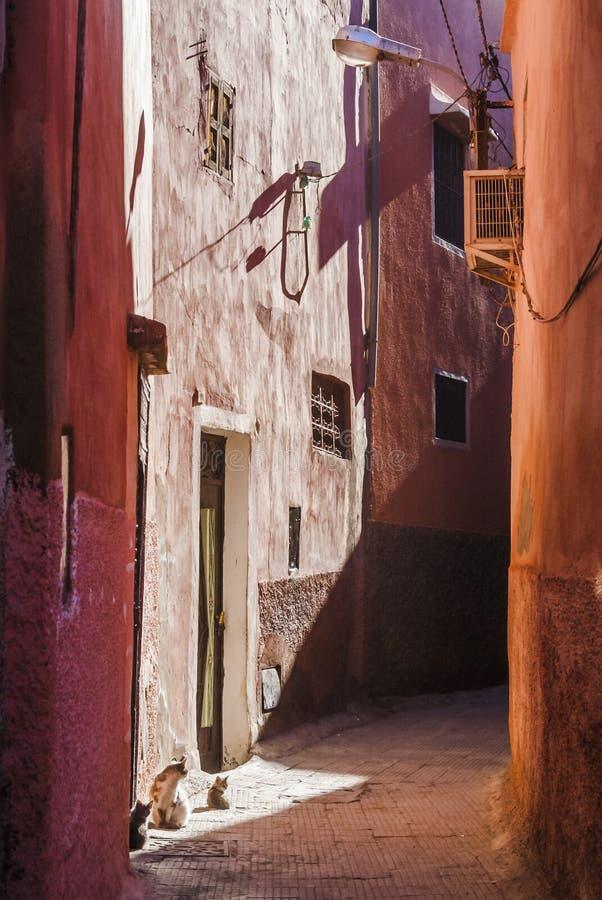 Kleine straat in Marrakech royalty-vrije stock afbeelding