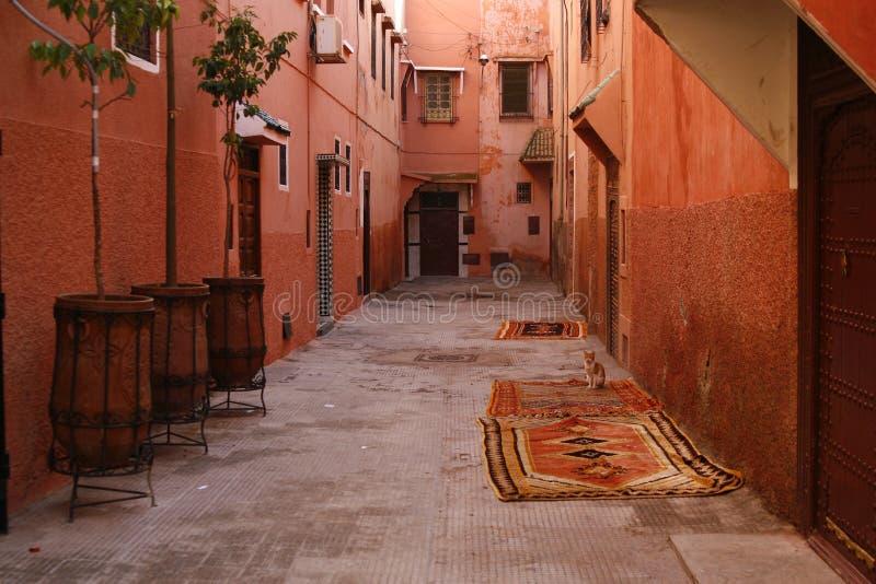 Kleine straat in medina van Marrakech. Marokko royalty-vrije stock afbeeldingen