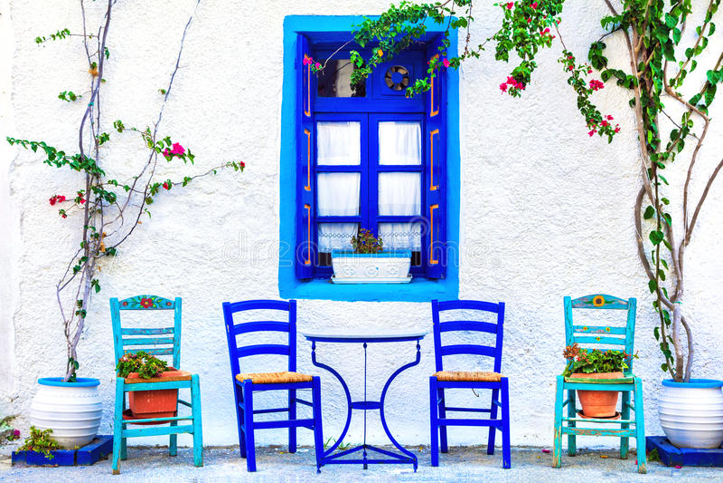 kleine straattavernas, Kos-eiland, Griekenland royalty-vrije stock foto