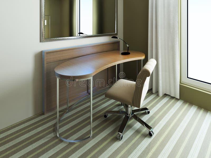 kleine tabelle nahe spiegel im schlafzimmer stockfoto bild von spiegel baumwolle 64862534. Black Bedroom Furniture Sets. Home Design Ideas