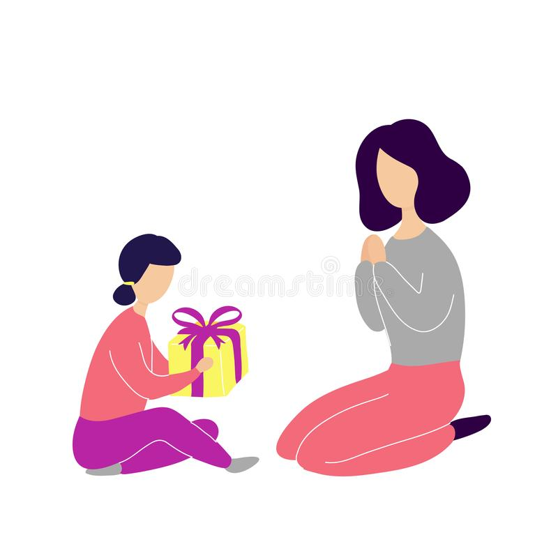 Kleine Tochter, die Geschenk gibt, um zu bemuttern vektor abbildung