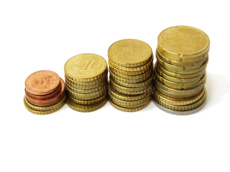 Kleine torens van de gesorteerde euro die muntstukken van het geldkoper met een geïsoleerde witte achtergrond worden gebruikt royalty-vrije stock afbeeldingen