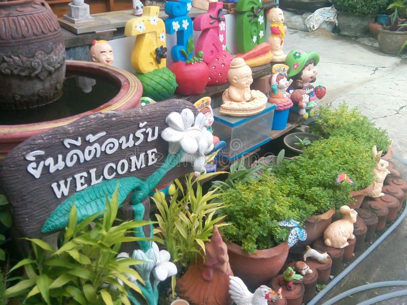 Kleine tuin #Welcome royalty-vrije stock afbeelding