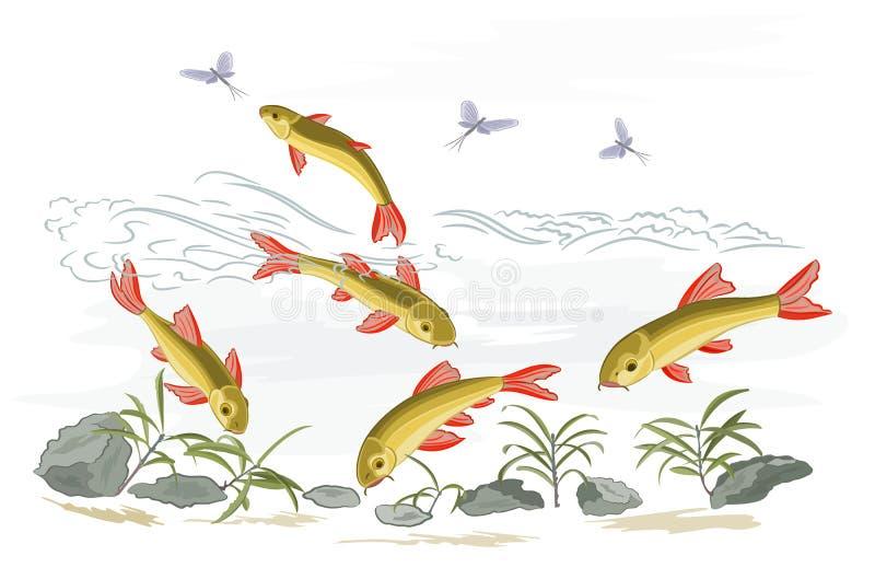 Kleine vissen in de wilde stroom royalty-vrije illustratie