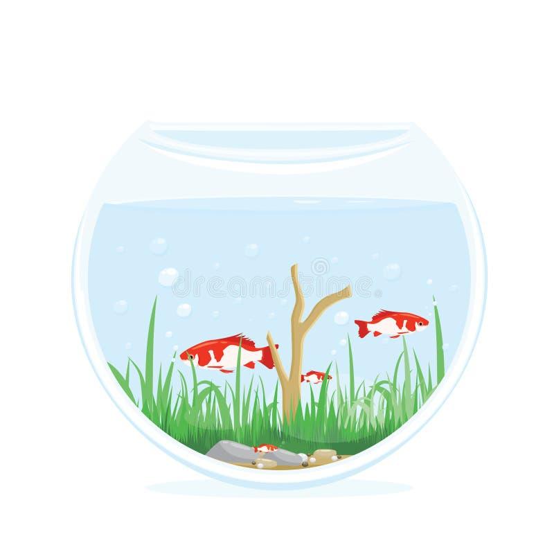 Kleine Vissen in een Ronde Aquarium Vectorillustratie vector illustratie