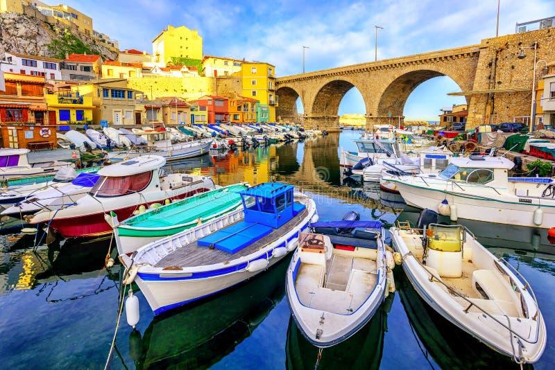 Kleine vissershaven, Marseille, Frankrijk stock afbeelding