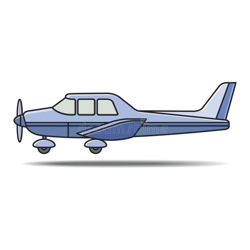 Kleine vliegtuigen met propeller het landen royalty-vrije illustratie