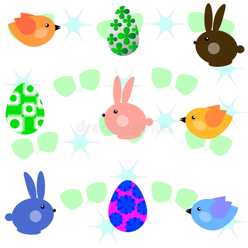 Kleine vogels en konijnen royalty-vrije illustratie