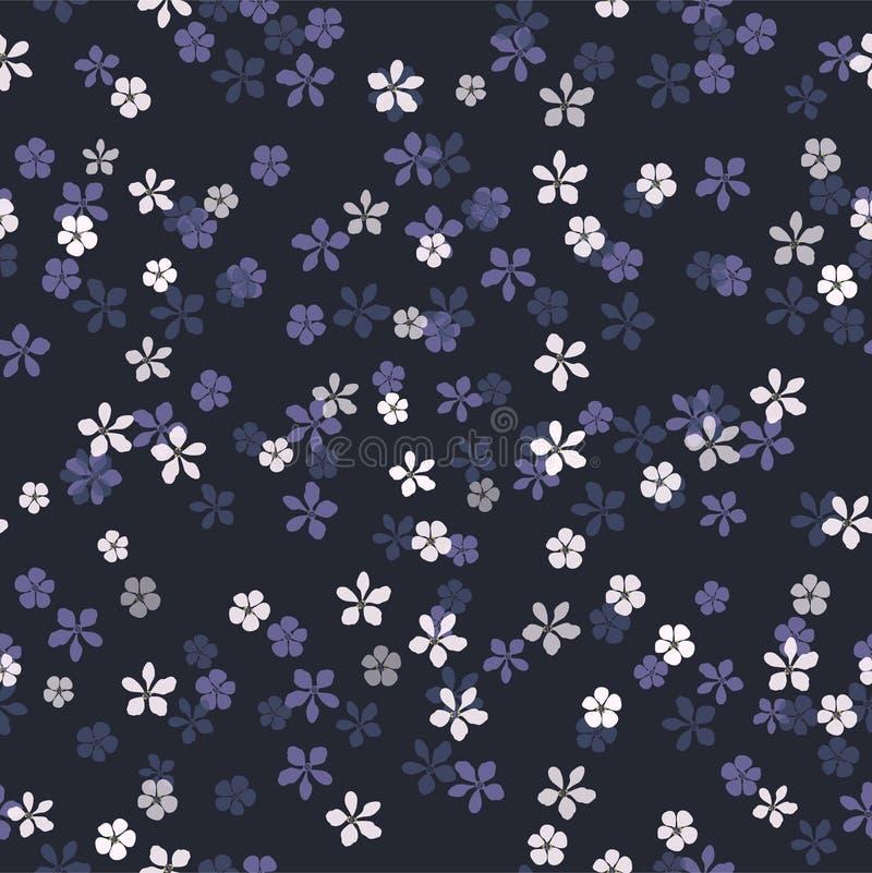 Kleine weiße, blaue und purpurrote Blumen auf Marineblauhintergrund vektor abbildung