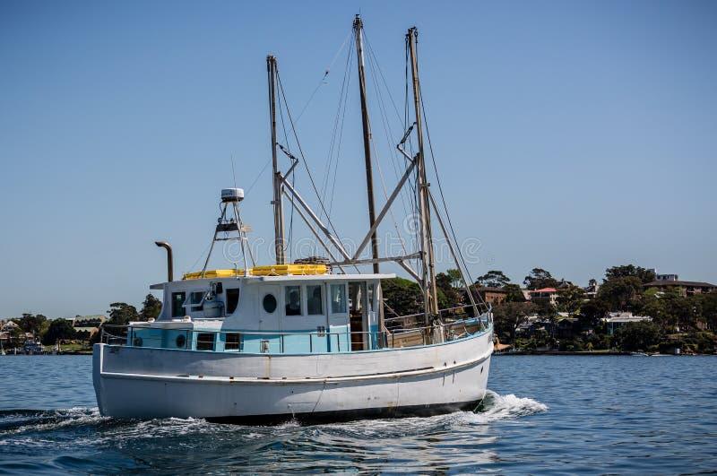 Kleine witte en blauwe vissersboot lopend in Sydney Harbour, Sydney, stock foto