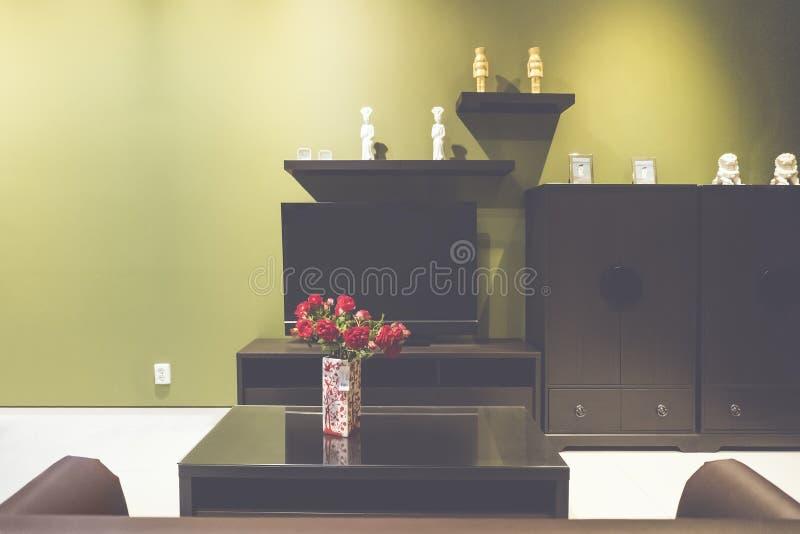 Kleine woonkamer met een bruine bank, een kabinet en een TV royalty-vrije stock afbeeldingen