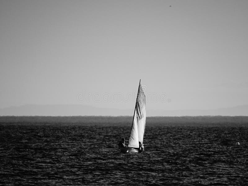 Kleine zeilboot op een kalme overzees B/W stock fotografie