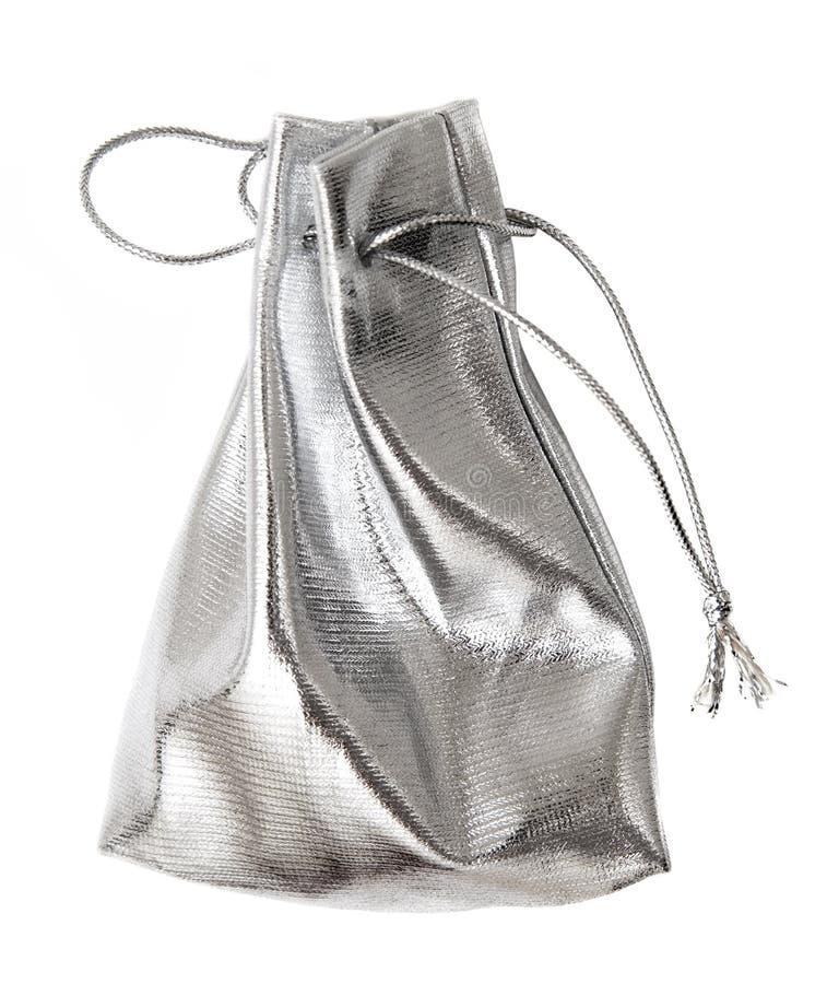 Kleine zilveren zak royalty-vrije stock afbeelding