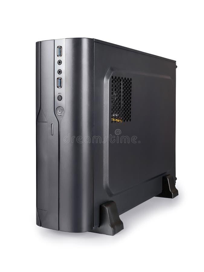 Kleine zwarte die bureaucomputer met het knippen van weg wordt geïsoleerd stock foto