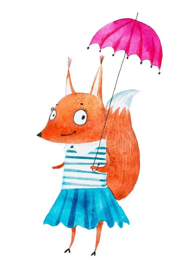 Kleinen tragendes Kleid Eichhörnchen-Mädchens des Aquarells des recht, das mit einem Regenschirm geht lizenzfreie abbildung
