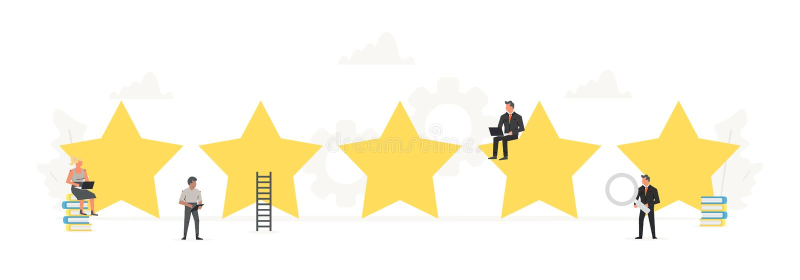 Kleiner Arbeiter um große Sterne Veranschlagen, positiver Bericht, Qualitätsarbeit, Feedback, Bewertungssystem Abbildung lizenzfreie abbildung