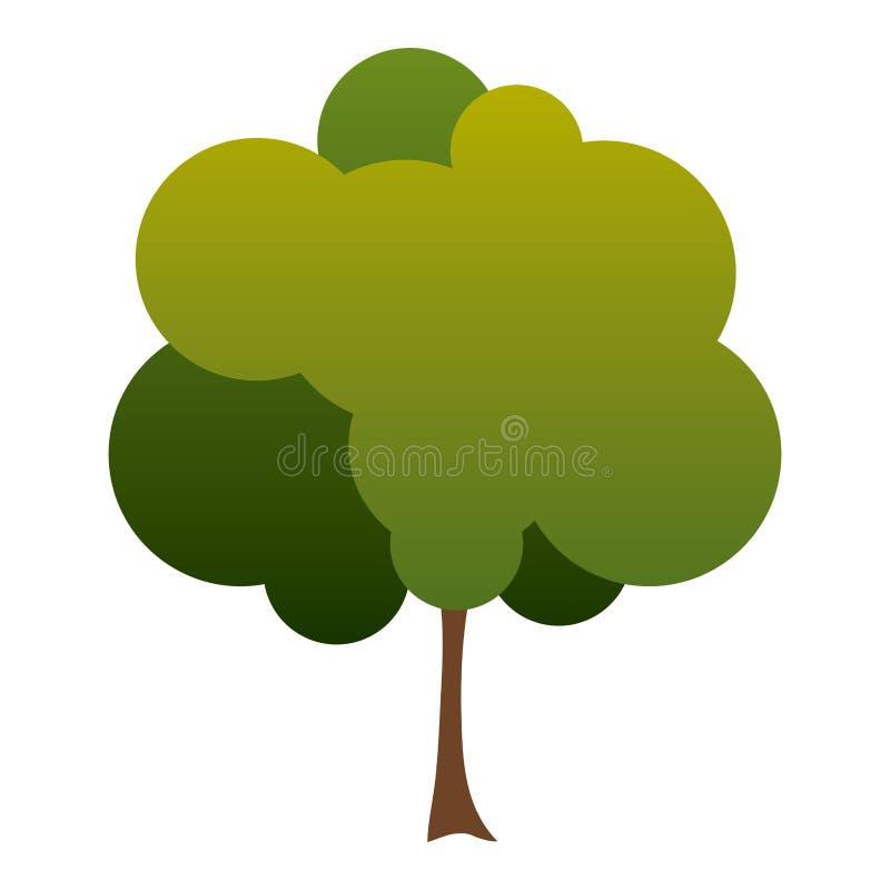 kleiner belaubter Baum des bunten Schattenbildes mit verminderten Blättern vektor abbildung
