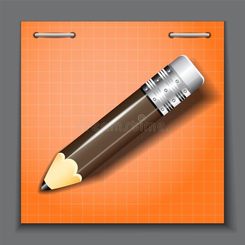 Kleiner Bleistift auf dem orange Papierblatthintergrund stock abbildung