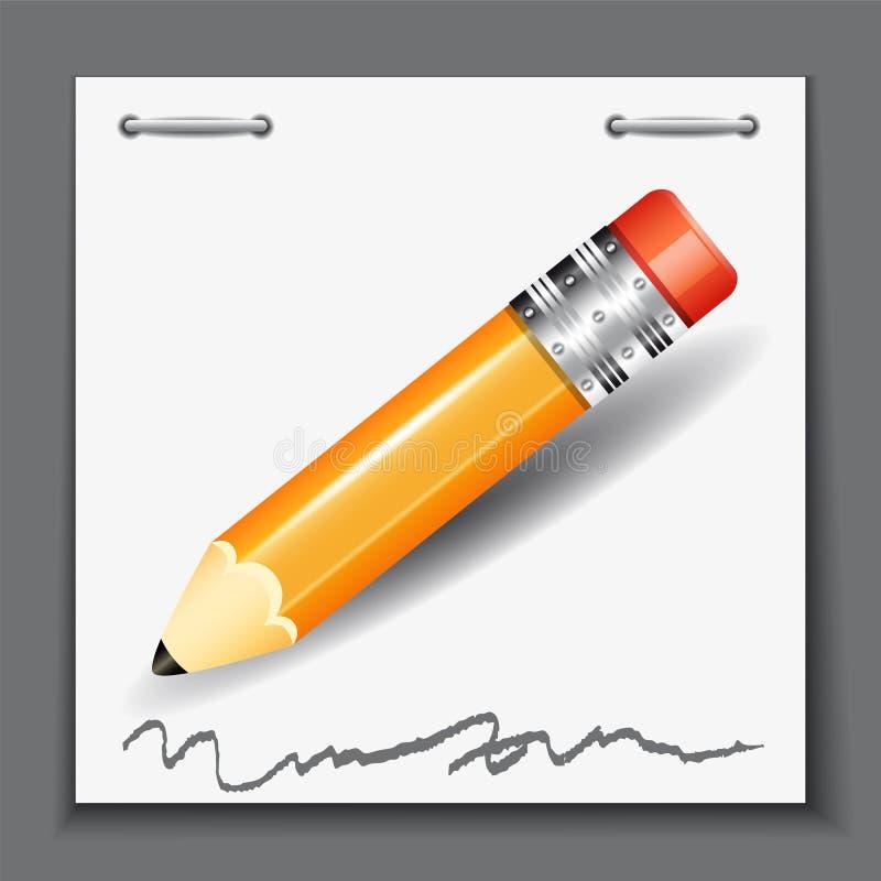 Kleiner Bleistift auf dem Papierblatthintergrund vektor abbildung