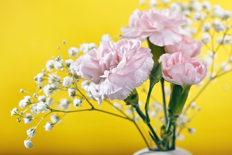 Kleiner Blumenstrauß der rosa Gartennelken-Blume stockfotos