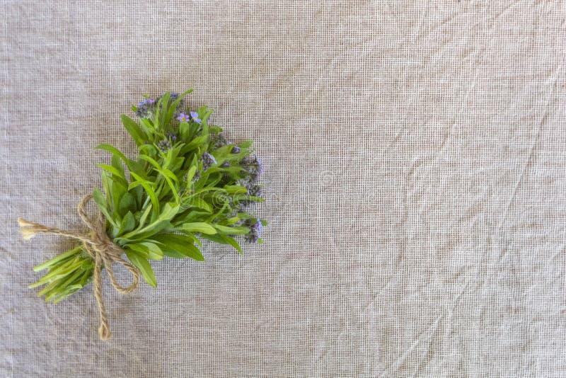 Kleiner Blumenstrauß von blauen Blumen ( forget-me-nots) auf altem Segeltuchgewebehintergrund Kopieraum stockfotos