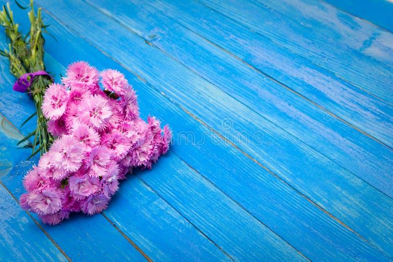 Kleiner Blumenstrauß von roten Gartennelken auf den blauen schäbigen Brettern stockbilder