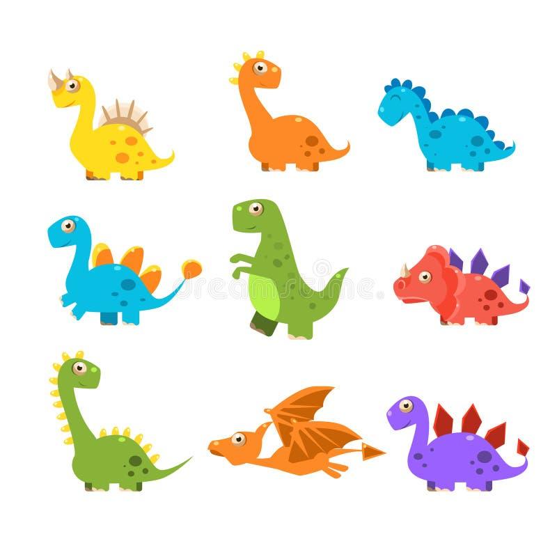 Kleiner bunter Dinosaurier-Satz Nahtloser Blumenhintergrund lizenzfreie abbildung