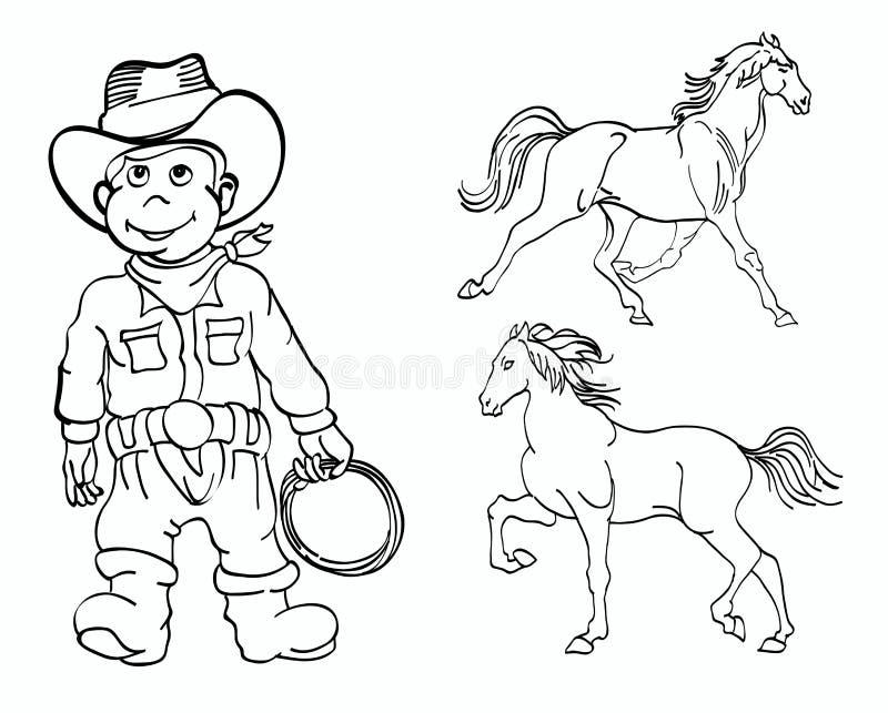 Kleiner Cowboy und Pferde lizenzfreie abbildung