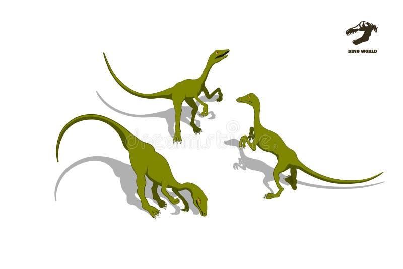 Kleiner Dinosaurier in der isometrischen Art Lokalisiertes Bild des Juramonsters Ikone Karikaturdino 3d vektor abbildung