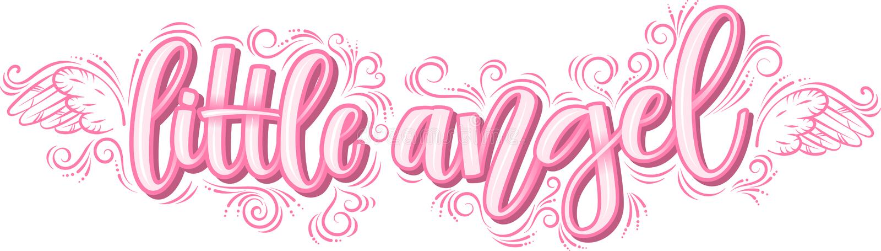 Kleiner Engel, der in der rosa Aufschrift lokalisiert auf weißem Hintergrund beschriftet vektor abbildung