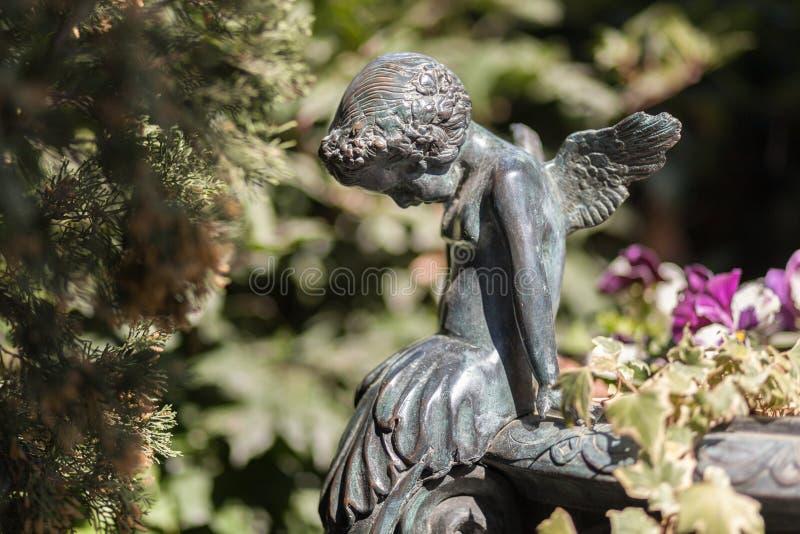 Kleiner Engel der Statue in Naturpark backgorund lizenzfreie stockfotos