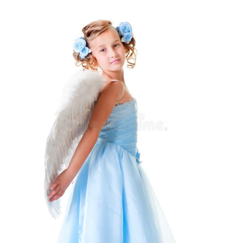 Kleiner Engel im blauen Kleid stockfotos
