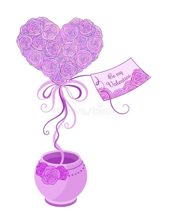 Kleiner Frühlingsbaum Topiary mit rosa Rosen und stock abbildung