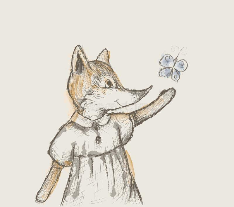 Kleiner Fuchs versucht, den Schmetterling zu fangen und zeichnet wie Bleistiftkratzer mit Aquarellflecken, Retro- Bild, vektor abbildung