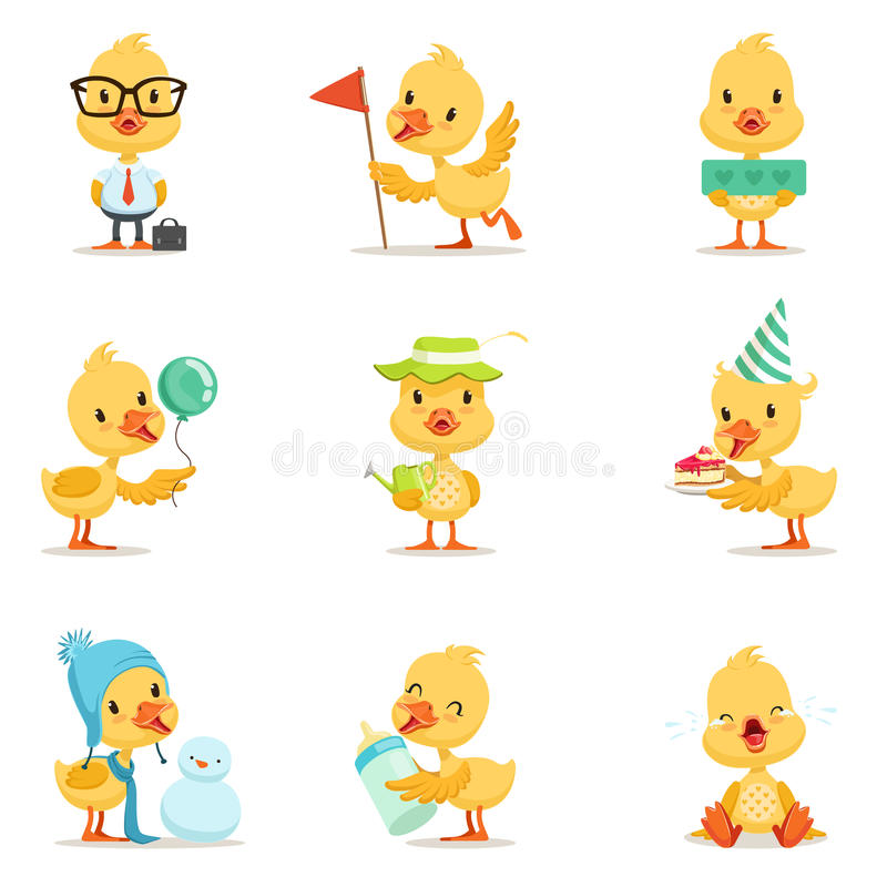 Kleiner gelber Duck Chick Different Emotions And Situations-Satz nette Emoji-Illustrationen lizenzfreie abbildung