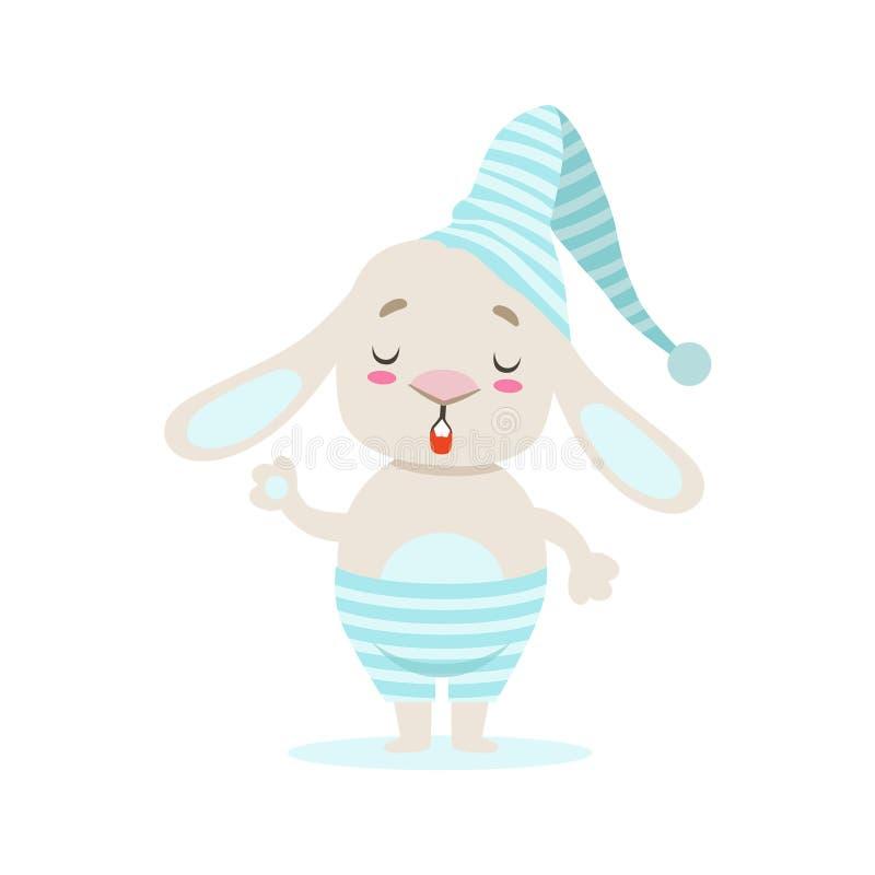 Kleiner Girly netter weißer Haustier-Bunny In Stripy Blue Night-Hut, Zeichentrickfilm-Figur-Lebenssituations-Illustration lizenzfreie abbildung