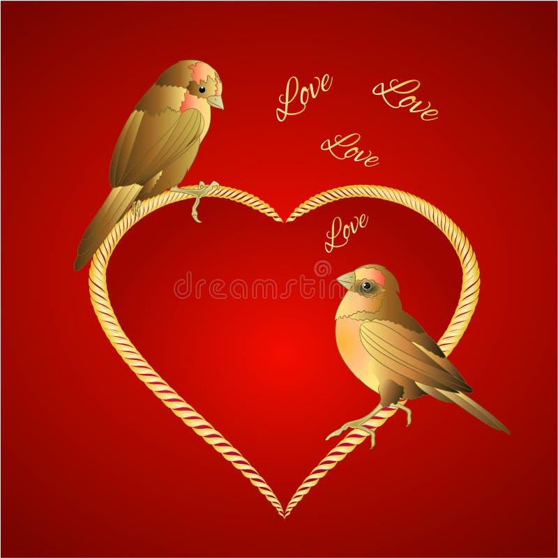 Kleiner goldener Vogel- und Herzvalentinsgrußplatz für Hintergrundweinlese-Vektorillustration des Textes die rote editable lizenzfreie abbildung