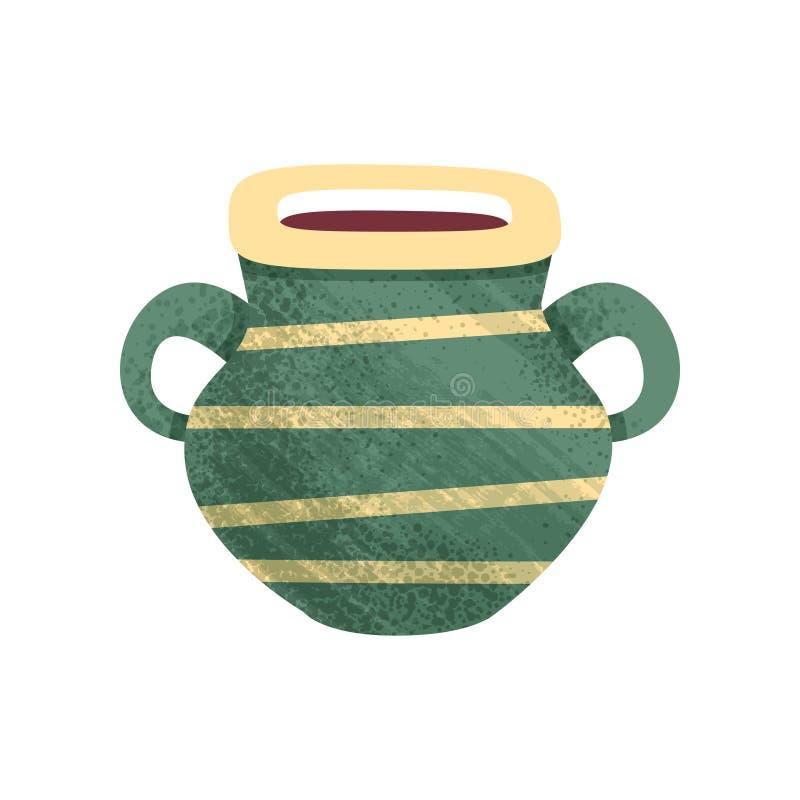 Kleiner grüner keramischer Topf mit Streifen und zwei Griffen Altes Schiff für Flüssigkeiten Antiker Clay Vase Flache Vektorikone vektor abbildung