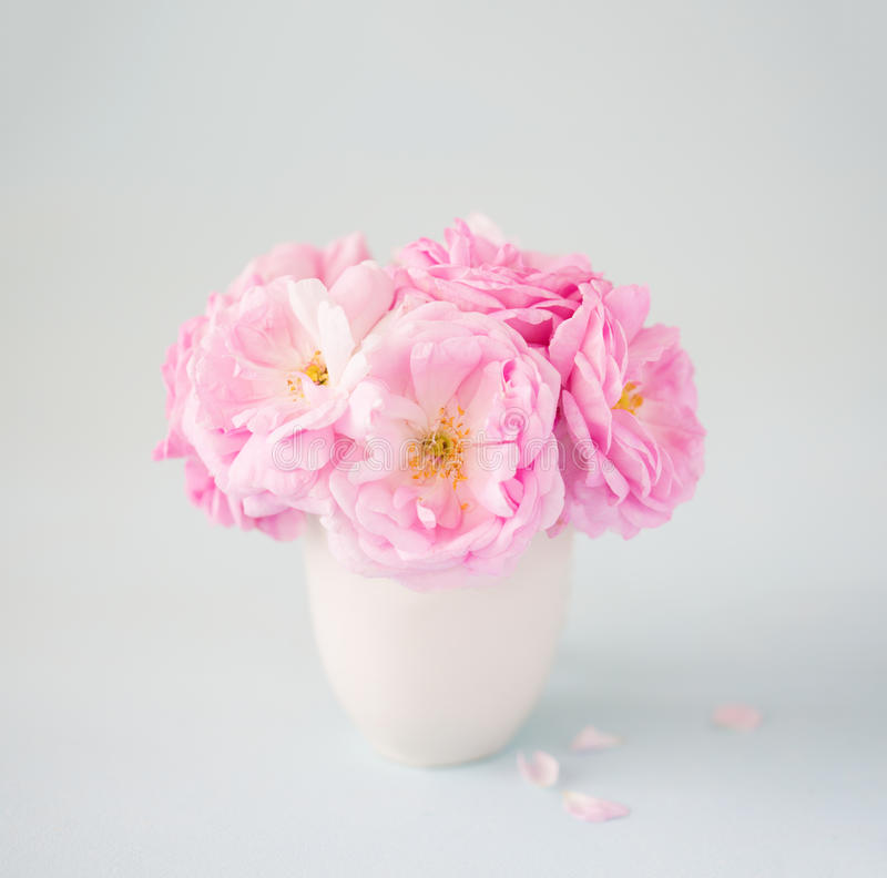 Kleiner hellrosa Blumenstrauß von Rosen in Ñ- eramic Vase gegen blassen grauen Hintergrund lizenzfreies stockfoto