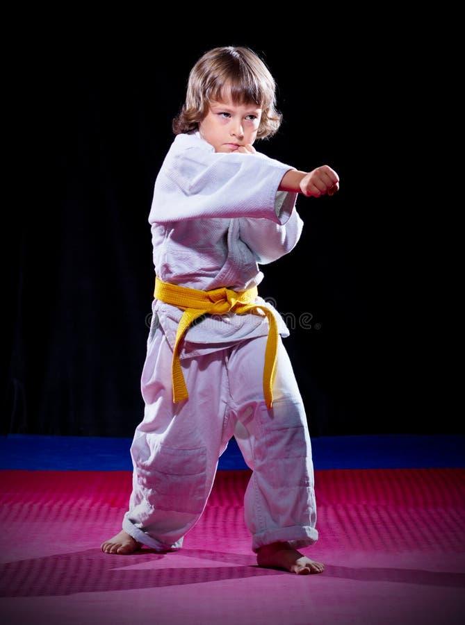 Kleiner Junge Aikidokämpfer stockfoto