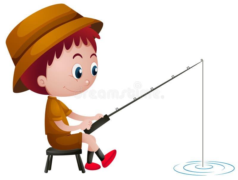 Kleiner Junge, der allein fischt vektor abbildung