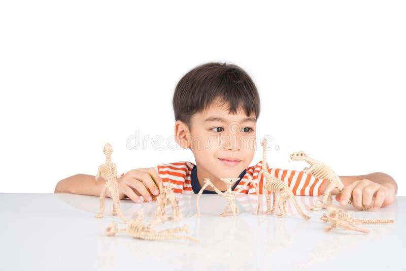 Kleiner Junge, der auf dem Tisch Innentätigkeiten des Dinosaurierfossil-Spielzeugs spielt lizenzfreie stockbilder