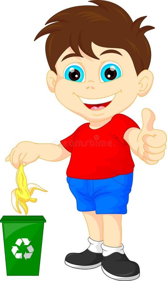 Kleiner Junge, der Biomüll aufbereitet lizenzfreie abbildung