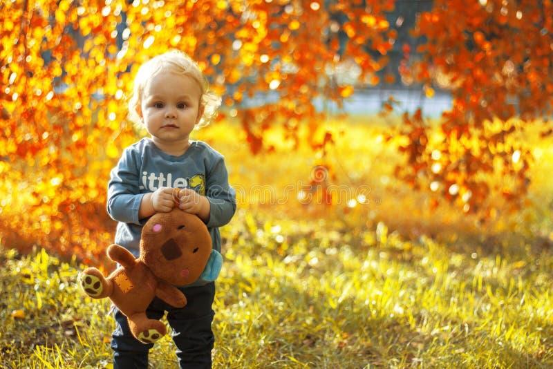 Kleiner Junge, der draußen ein angefülltes Spielzeug im Park im Herbst hält stockbild