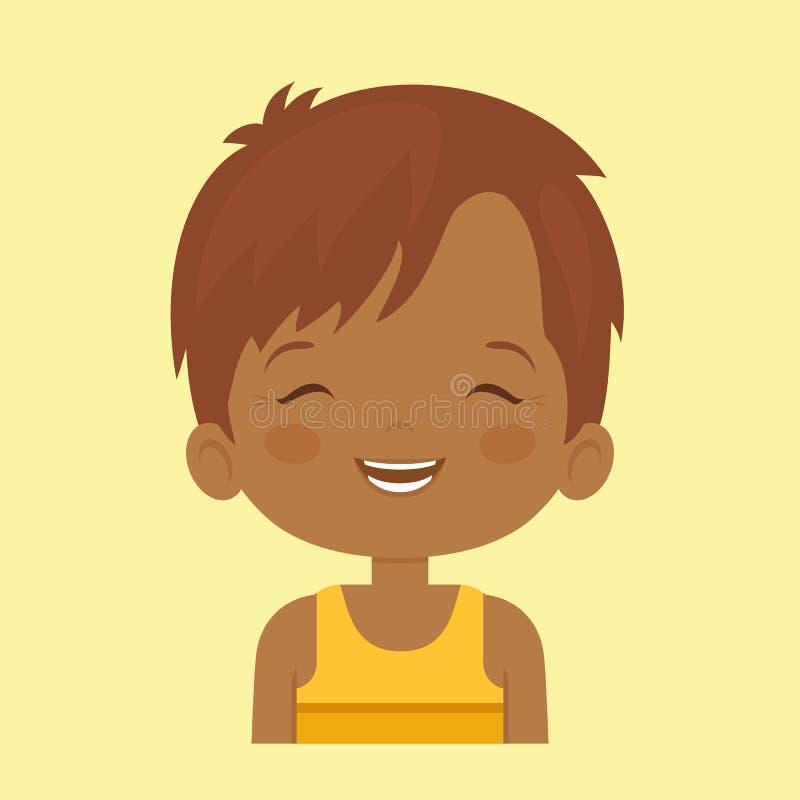 Kleiner Junge der dunklen Haut, der Gesichts-expressio lacht lizenzfreie abbildung