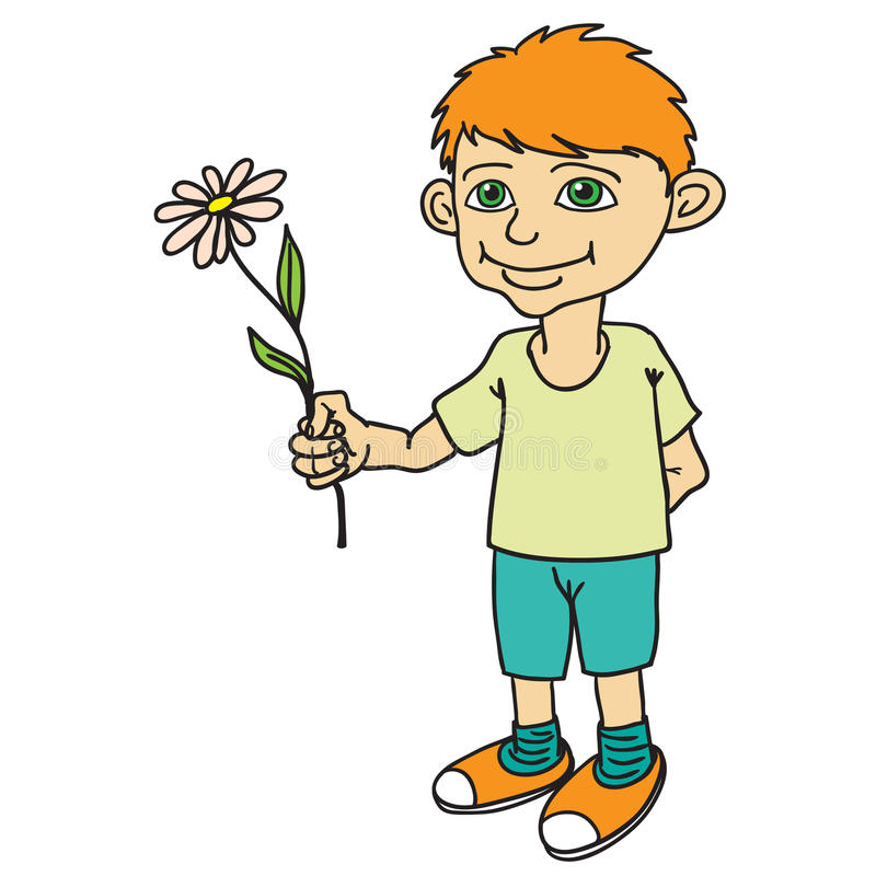 Kleiner Junge, der eine Blume hält stock abbildung