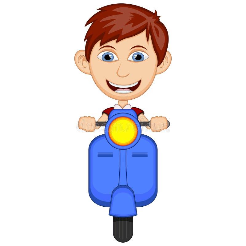 Kleiner Junge, der eine Rollerkarikatur-Vektorillustration reitet lizenzfreie abbildung