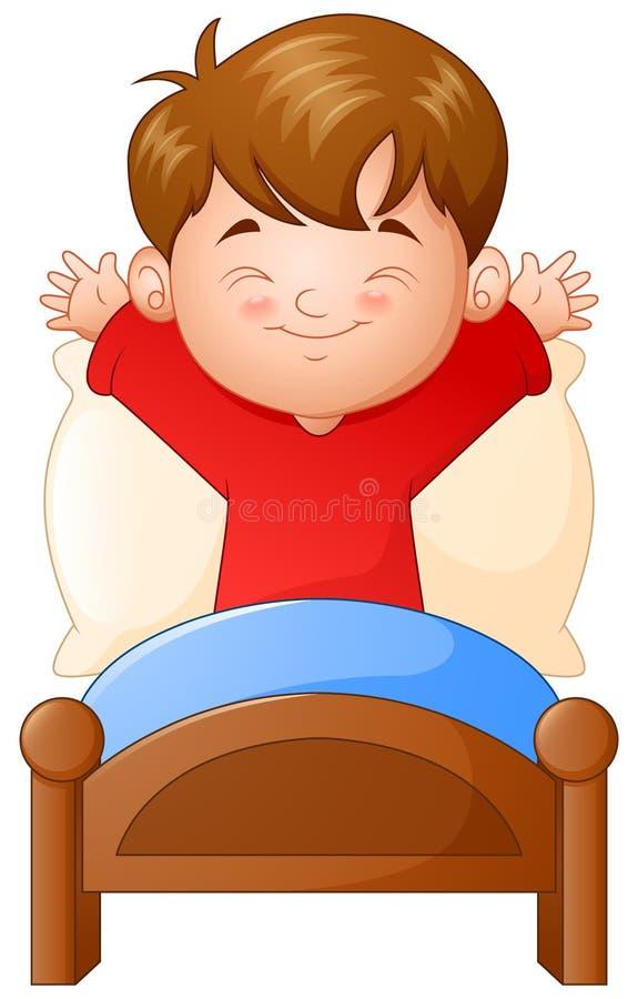 Kleiner Junge, der in einem Bett auf weißem Hintergrund aufwacht vektor abbildung